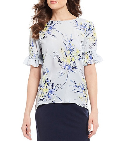 Alex Marie Lana Floral Print Smocked Short Sleeve Blouse