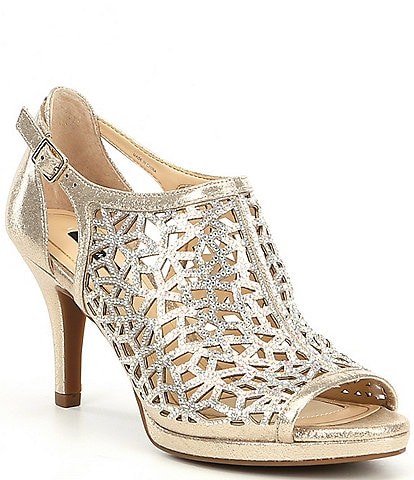 Alex Marie Lanie Metallic Rhinestone Detail Cutout Pattern Dress Pumps
