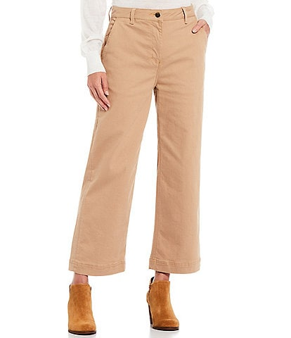 Alex Marie Leonna Lux Zip Front Wide Leg Ankle Length Chino Pants