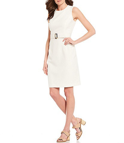 Alex Marie Leslie Luxe Twill Belted Machine Washable Dress