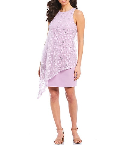 Alex Marie Lila Asymmetrical Lace Crepe Dress