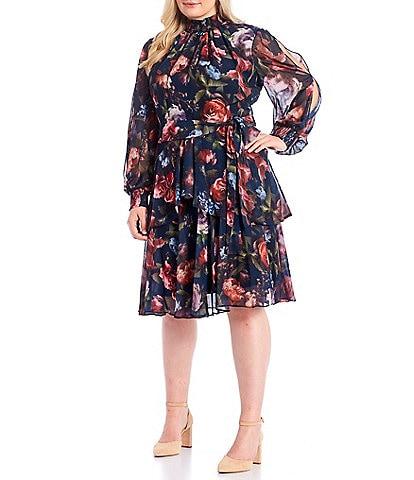 Alex Marie Plus Size Rosalia Long Split Sleeve Mock Neck Floral Dress