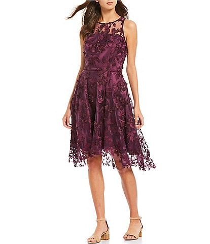 Alex Marie Madison 3D Floral Embroidered Mesh Sleeveless A-Line Dress