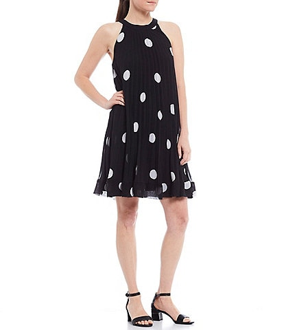 Alex Marie Maggie Dot Print Pleated Chiffon Dress