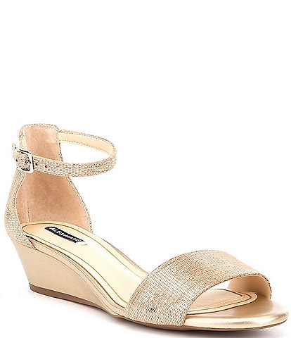 b2e1b1f62 Alex Marie Mairitwo Metallic Leather Ankle Strap Wedge Sandals