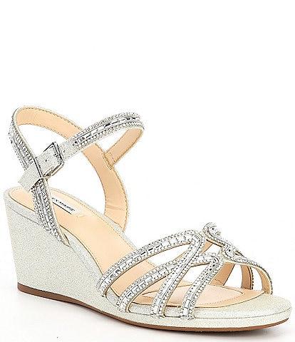Alex Marie Makira Rhinestone Embellished Strappy Wedge Sandals