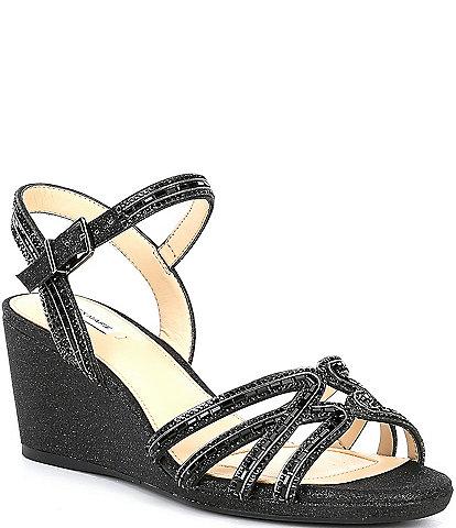 Alex Marie Makira Rhinestone Embellished Wedge Sandals