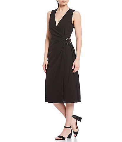 Alex Marie Maria O-Ring Belted V-Neck Sleeveless Faux-Wrap Midi Dress