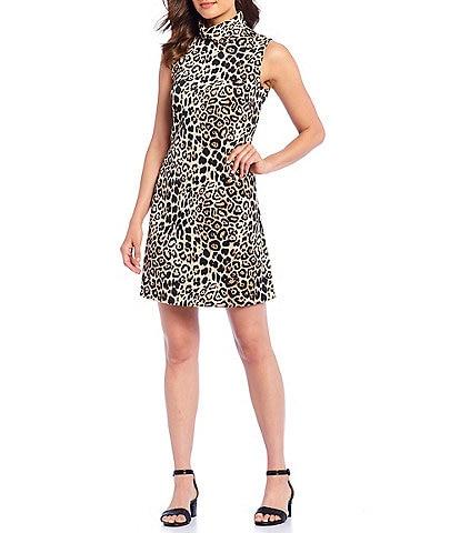 Alex Marie Mary Leopard Print Satin Mock Neck Sleeveless Shift Dress