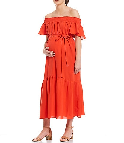 Alex Marie Maternity Chelsea Crepe de Chine Off-the-Shoulder Ruffle Tiered Hem Midi Dress