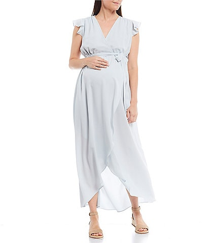 Alex Marie Maternity Emmy Solid Wrap Soft Crepe Maxi Hi-Low Hem Dress