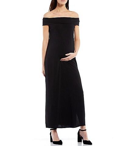 Alex Marie Maternity Gwen Off-the-Shoulder Cap Sleeve Sheath Maxi Dress