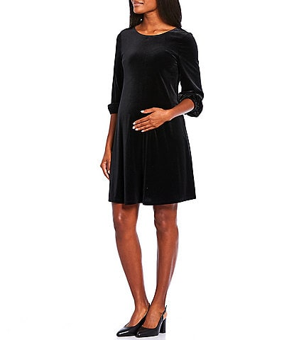 Alex Marie Maternity Shay Velvet Poet Sleeve A-Line Dress