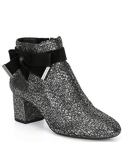 Alex Marie Mayleen Metallic Ankle Bow Block Heel Booties