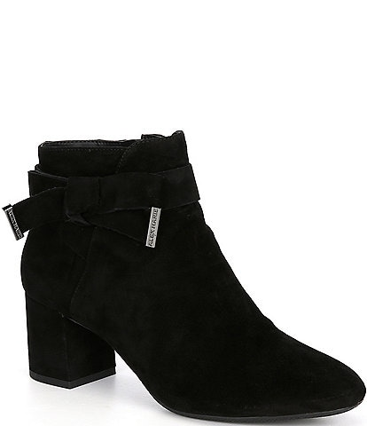 Alex Marie Mayleen Suede Ankle Bow Block Heel Booties