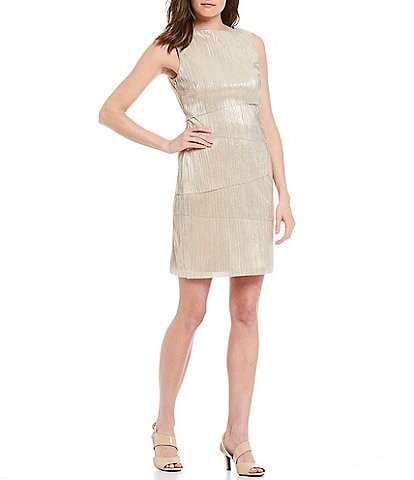 Alex Marie Metallic Thread Pleated Knit Boat Neck Dress