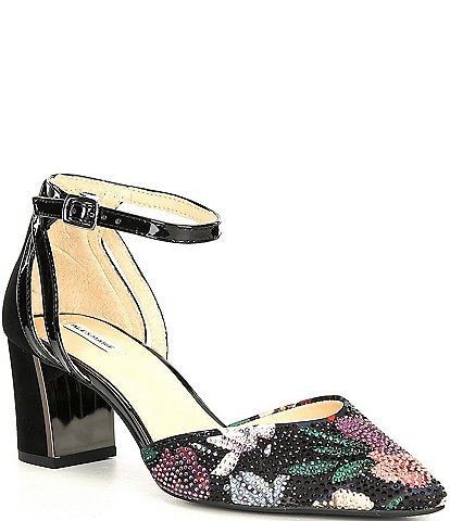Alex Marie NelvinTwo Floral Rhinestone Embellished Ankle Strap Pumps