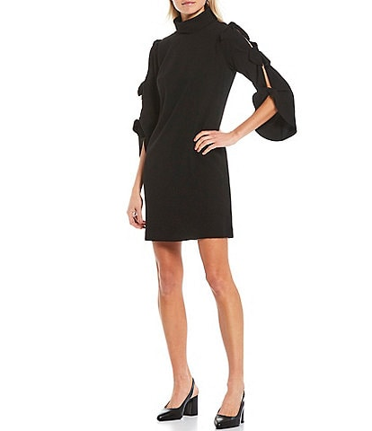 Alex Marie Nina 3/4 Split Sleeve Bow Detail Turtleneck Dress