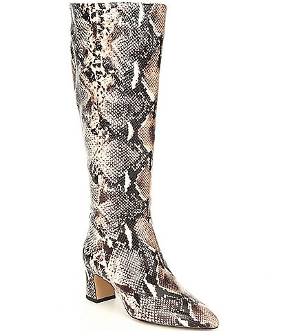 Alex Marie Pamilla Slim Calf Snake Print Tall Shaft Boots
