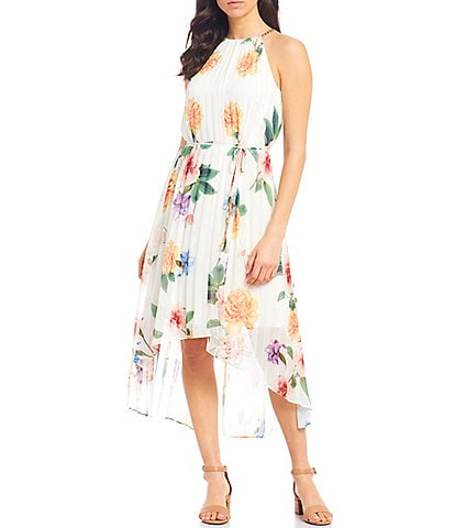 Alex Marie Parker Pleated Floral Print Halter Neck Chain Strap Detail Chiffon Hi-Low Hem Midi Dress