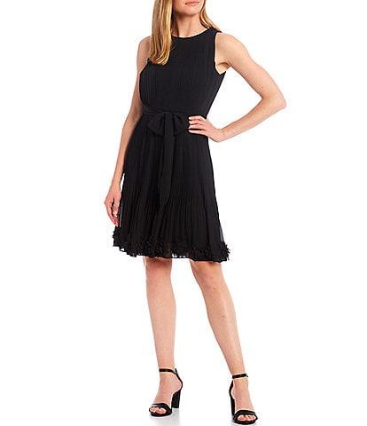 Alex Marie Petite Size Bethany Crew Neck Sleeveless Pleated Chiffon Dress