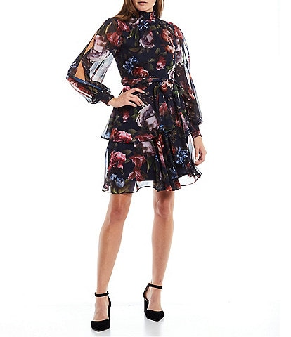 Alex Marie Petite Size Rosalia Long Split Sleeve Mock Neck Tiered A-Line Dress