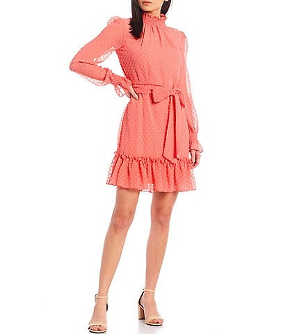 Alex Marie Petite Size Posie Mock Neckline Long Sleeve Dress
