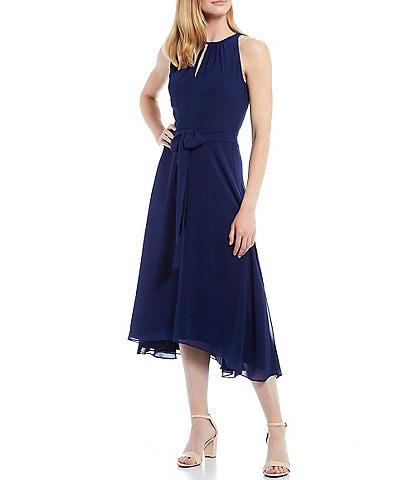Alex Marie Petite Size Remi Chiffon Halter Neck Sleeveless Midi Dress