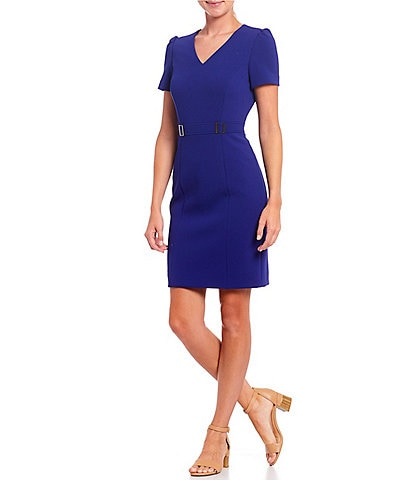 Alex Marie Phea V-Neck Short Sleeve Square Ring Dress