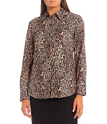 Alex Marie Piper Cheetah Long Sleeve Button Front Point Collar Crepe de Chine Blouse