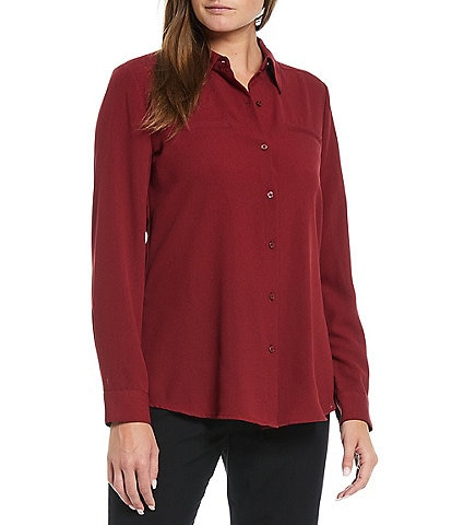 Alex Marie Piper Lightweight Soft Crepe de Chine Point Collar Neck Long Sleeve Button Front Top
