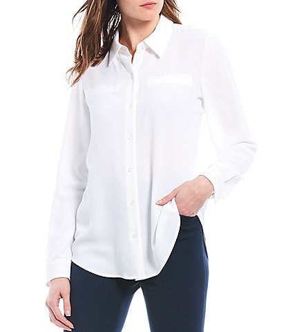 Alex Marie Piper Lightweight Soft Crepe de Chine Point Collar Long Sleeve Button Front Top
