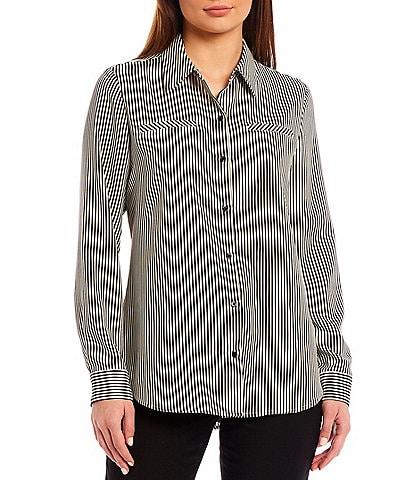 Alex Marie Machine Washable Piper Crepe de Chine Stripe Long Sleeve Button Front Blouse