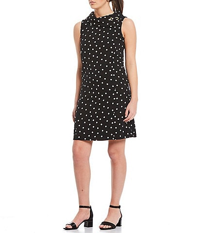Alex Marie Rachel Polka Dot Stretch Dobby Twill Crepe Envelope Collar Shift Dress