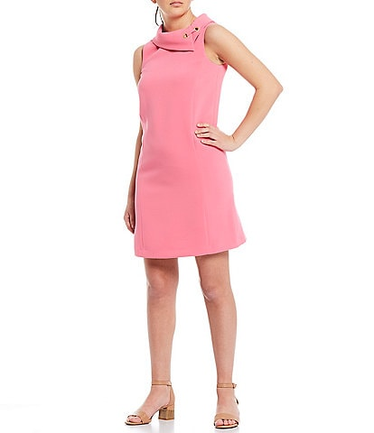 Alex Marie Rachel Solid Stretch Dobby Twill Crepe Envelope Collar Shift Dress