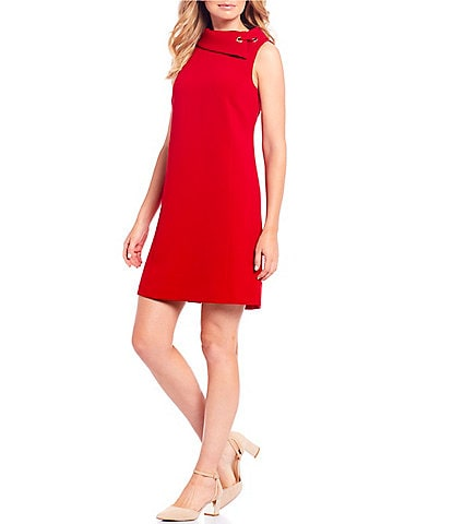 Alex Marie Rachel Stretch Woven Rolled Collar Shift Dress