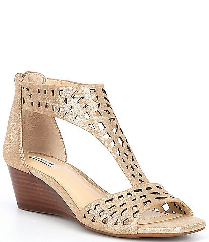 Alex Marie Raynna Metallic Suede T-Strap Perforated Wedge Sandals