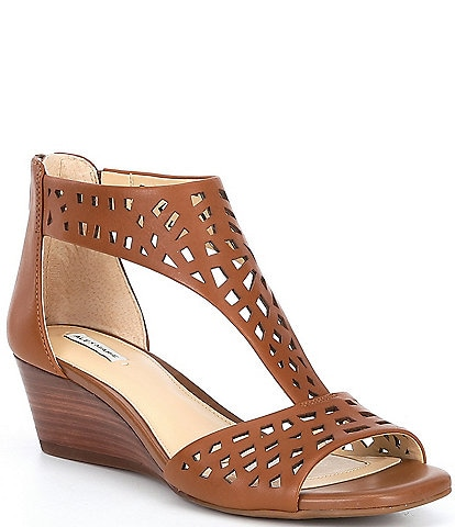 Alex Marie Raynna T-Strap Perforated Leather Wedge Sandals