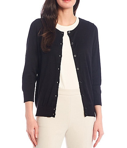 Alex Marie Rosa 3/4 Sleeve Button Front Round Neck Cardigan
