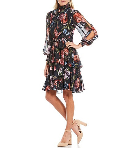 Alex Marie Rosalia Floral Mock Neck Long Split Sleeve Tie Waist Ruffle Hem Dress