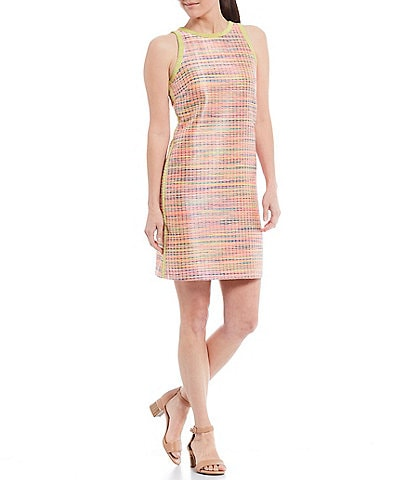 Alex Marie Ryan Corded Jacquard Contrast Trim Shift Dress