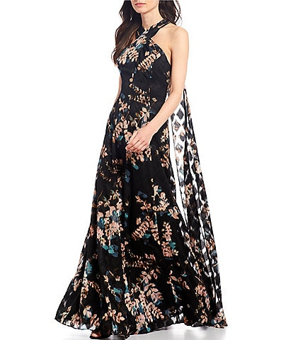 Alex Marie Shelby Floral Print Twist Halter Neck Gown