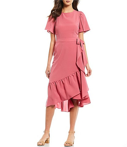 Alex Marie Shelly Flutter Sleeve Wrap Ruffle Hem Crepe de Chine Midi Dress