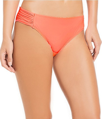 Alex Marie Solid Hot Guava Tab Side Bikini Swimsuit Bottom