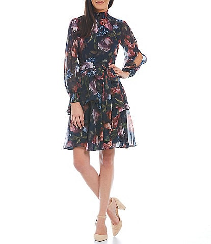 Alex Marie Split Long Sleeve Mock Neck Floral Rosalia Dress
