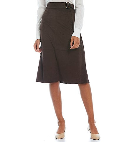 Alex Marie Stacey Belted Faux Suede A-Line Skirt