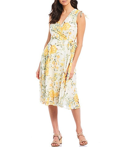 Alex Marie Tabitha Floral Printed Chiffon V-Neck Machine Washable Dress
