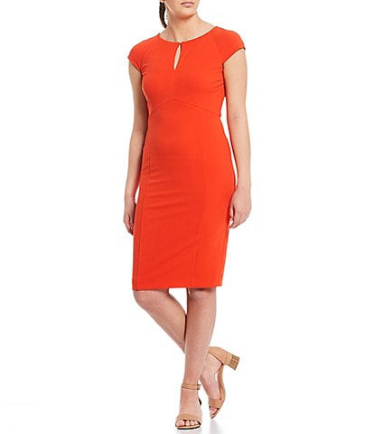 Alex Marie Tara Keyhole Scuba Crepe Machine Washable Dress