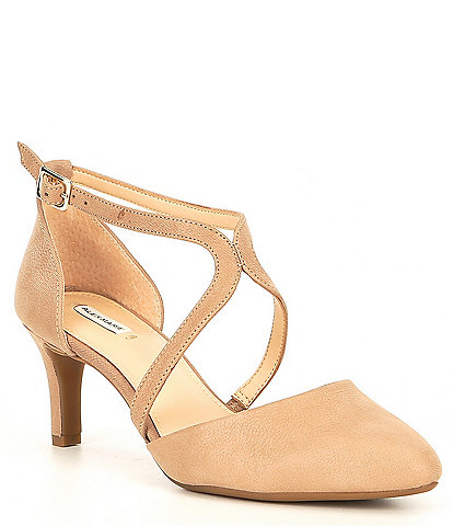 Alex Marie Thaylee Leather Cross-Strap Pumps