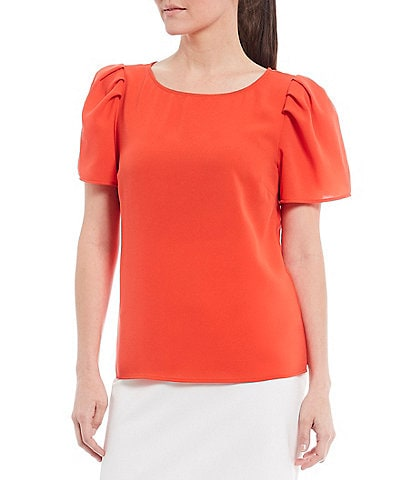 Alex Marie Woven Arya Crepe de Chine Puff Sleeve Machine Washable Blouse